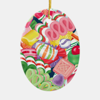 Old Fashioned Christmas Candy Ceramic Oval Decoration