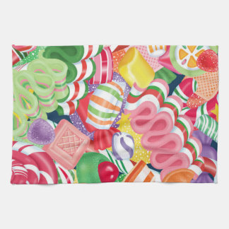 Old Fashioned Christmas Candy Clock Tea Towel