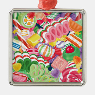 Old Fashioned Christmas Candy Silver-Colored Square Decoration