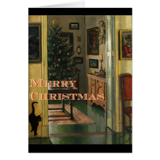 Old fashioned Christmas Card With a Black Cat
