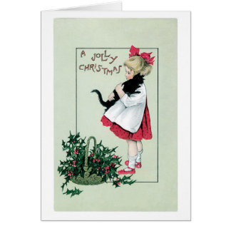 Old-fashioned Christmas, Girl holding Black cat Card
