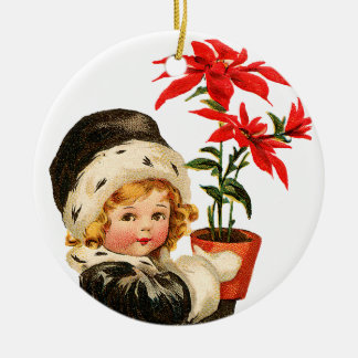 Old-fashioned Christmas, Girl holding Poinsettia Christmas Ornament
