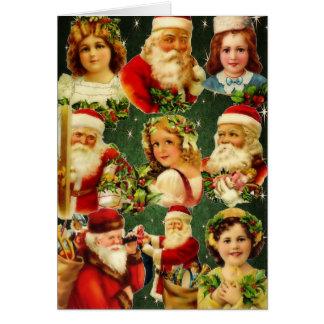 Old Fashioned Christmas Girls & Santa Greeting Card