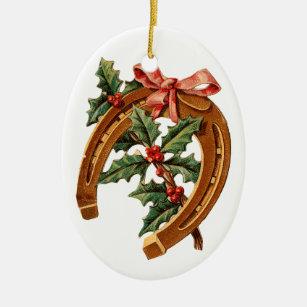 old fashioned christmas horseshoe christmas ornament - Horseshoe Christmas Wreath