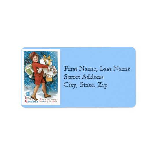 Old Fashioned Christmas Joyous Gift Boxes Address Label