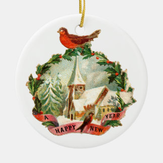 Old-fashioned Christmas, New year, Robin Christmas Ornament