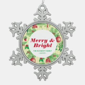 Old Fashioned Christmas Pattern Snowflake Pewter Christmas Ornament