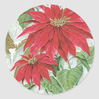 Old Fashioned Christmas Poinsettia Classic Round Sticker