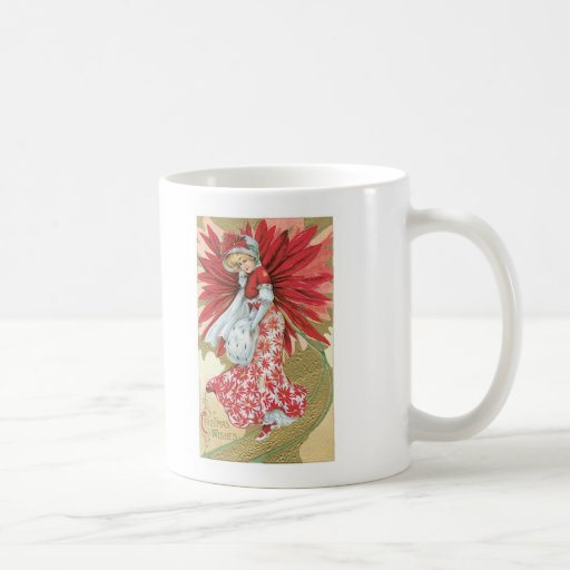 Old Fashioned Christmas Poinsettia Lady Mugs