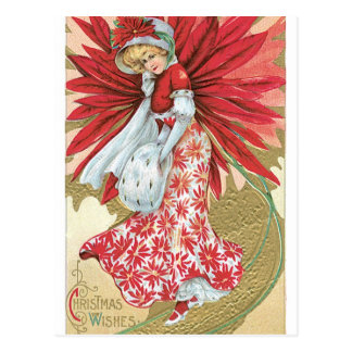 Old Fashioned Christmas Poinsettia Lady Postcard