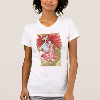 Old Fashioned Christmas Poinsettia Lady T-shirt