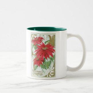 Old Fashioned Christmas Poinsettia Two-Tone Coffee Mug