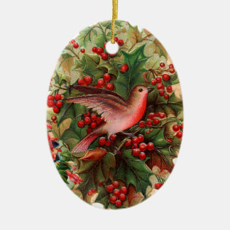 Old-fashioned Christmas, Robin, Holly Christmas Ornament