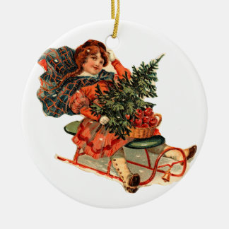 Old-fashioned Christmas, Sledding Christmas Ornament
