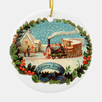 Old-fashioned Christmas, Steam train Christmas Ornament