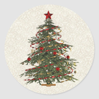 old fashioned christmas tree round sticker