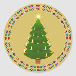 Old Fashioned Christmas Tree with Twin Rings Round Sticker