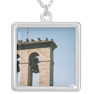Old-fashioned church bells, Assisi, Italy Silver Plated Necklace