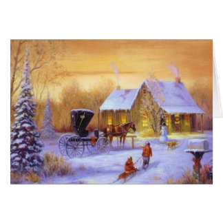 Old Fashioned Country Christmastime Greeting Card