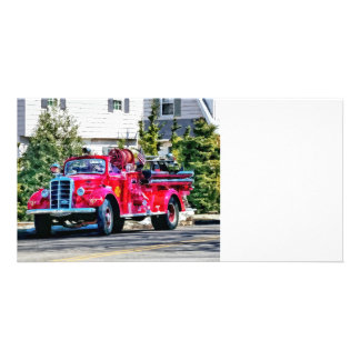 Old Fashioned Fire Truck Picture Card