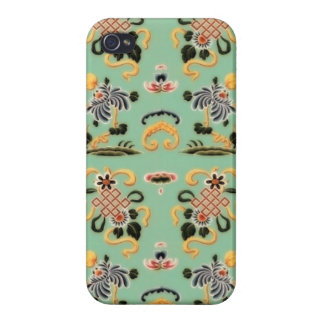 Old Fashioned Floral on Mint Green iPhone 4 Covers
