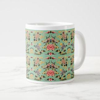 Old Fashioned Floral on Mint Green Jumbo Mug