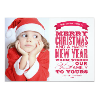 OLD FASHIONED FONT | HOLIDAY PHOTO CARD 13 CM X 18 CM INVITATION CARD