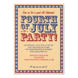 Old Fashioned Fourth of July Celebration Party Card