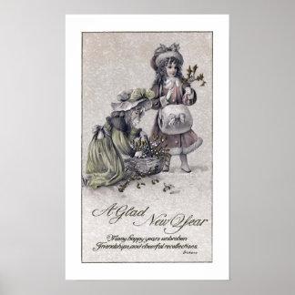 Old Fashioned Girls Gathering Mistletoe New Year Poster
