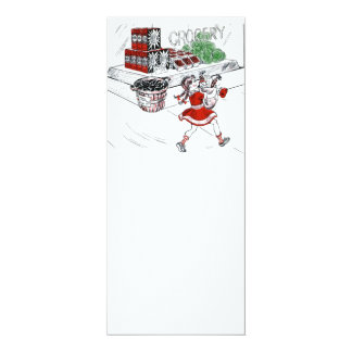 Old Fashioned Grocery Store and Little Girl 10 Cm X 24 Cm Invitation Card