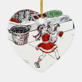 Old Fashioned Grocery Store and Little Girl Christmas Ornament