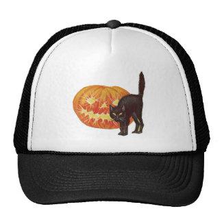 Old Fashioned Halloween Black Cat & Jack-O-Lantern Hats