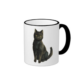 Old Fashioned Halloween Black Cat Coffee Mugs