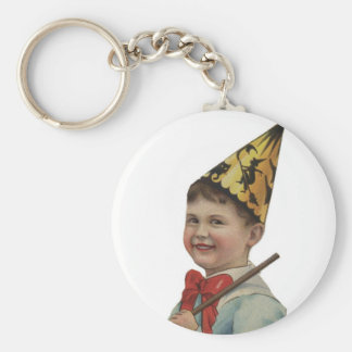 Old Fashioned Halloween Boy Basic Round Button Key Ring