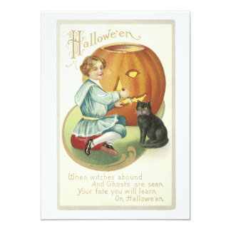 Old Fashioned Halloween Boy Carving Pumpkin 13 Cm X 18 Cm Invitation Card