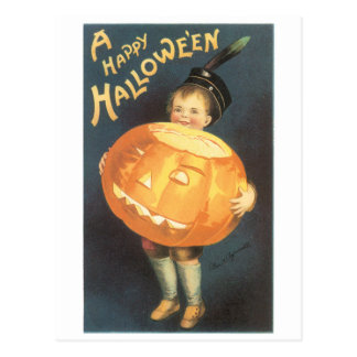 Old-fashioned Halloween, Boy holding Pumpkin Postcard