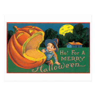 Old-fashioned Halloween, Boy with Jack-o'-lantern Postcard
