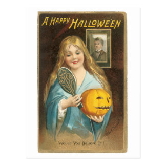 Old-fashioned Halloween, Girl with a Hand mirror Postcard