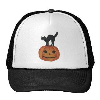 Old Fashioned Halloween Jack-O-Lantern Black Cat Trucker Hats