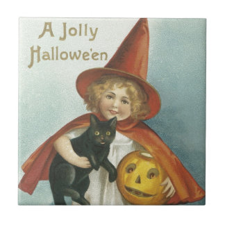 Old Fashioned Halloween Jolly Little Witch Tile