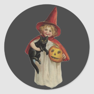 Old Fashioned Halloween Little Witch & Black Cat Round Sticker