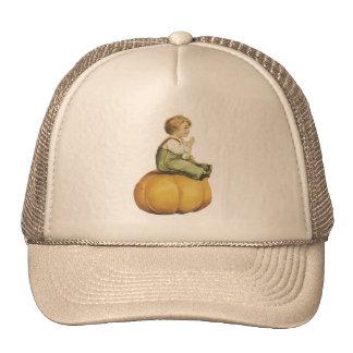 Old Fashioned Halloween Pumpkin & Boy Cap