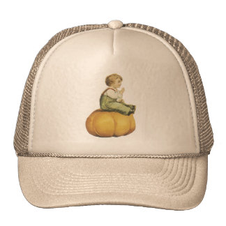 Old Fashioned Halloween Pumpkin & Boy Mesh Hat