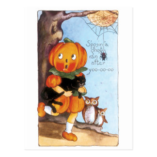 Old-fashioned Halloween, Pumpkin girl, Black cat Postcard