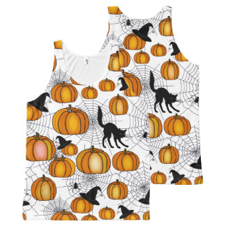 Old Fashioned Halloween w/ Orange Pumpkins All-Over Print Tank Top