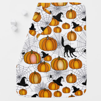 Old Fashioned Halloween w/ Orange Pumpkins Baby Blanket