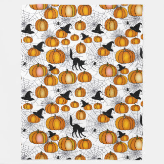 Old Fashioned Halloween w/ Orange Pumpkins Fleece Blanket