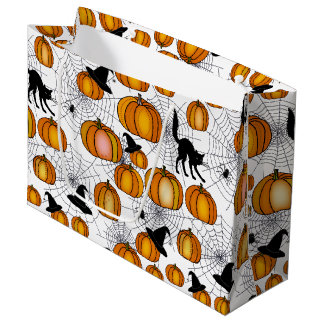 Old Fashioned Halloween w/ Orange Pumpkins Large Gift Bag