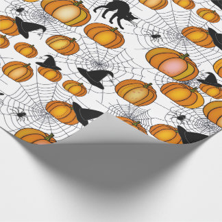Old Fashioned Halloween w/ Orange Pumpkins Wrapping Paper
