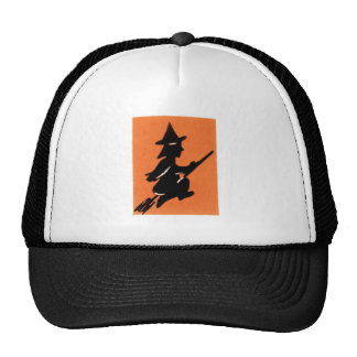 Old Fashioned Halloween Witch Silhouette Trucker Hat